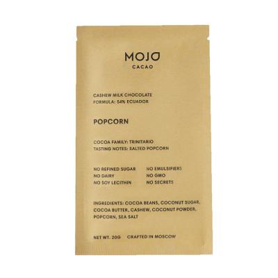 Шоколад Тёмный 54% Кешью с Солёным Попкорном Mojo Cacao Popcorn 20 г