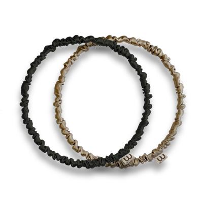 Набор Обруч-Резинка из Натурального 100% Шёлка Чёрный-Бежевый Mon Mou Thin Silk Hair Hoop Kit 2 шт