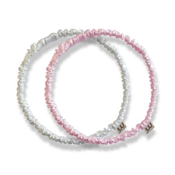 Набор Обруч-Резинка из Натурального 100% Шёлка Розовый-Белый Mon Mou Thin Silk Hair Hoop Kit 2 шт