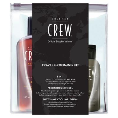 Дорожный Набор для Бритья American Crew Travel Grooming Kit (Средство 3-в-1 100 мл, Гель для Бритья 50 мл, Лосьон После Бритья 50 мл)