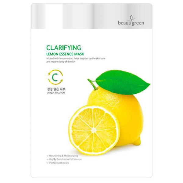 Тканевая Маска для Лица с Экстрактом Лимона BeauuGreen Clarifying Lemon Essence Mask 23 г