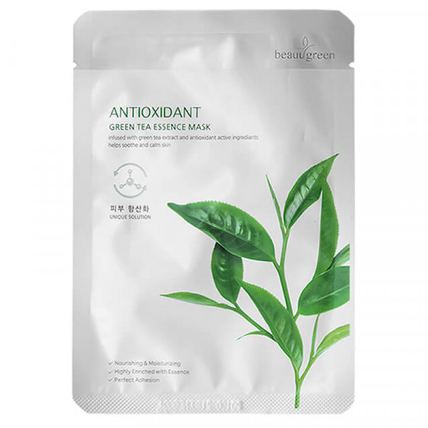 Тканевая Маска для Лица с Экстрактом Зеленого Чая BeauuGreen Antioxidant Green Tea Essence Mask 23 г