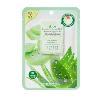 Тканевая 3D-Маска для Лица с Алоэ Beauugreen Contour 3d Aloe Essence Mask 23 мл