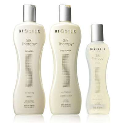 Набор Biosilk Glossy Glam Locks ( Шампунь Biosilk 355 мл + Кондиционер Biosilk 355 мл + Шелк Biosilk 167 мл)