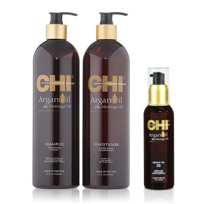 Восстанавливающие Шампунь и Кондиционер с Аргановым Маслом CHI Argan Oil (Shampoo 739 мл + Conditioner 739 мл + Argan Oil 89 мл)