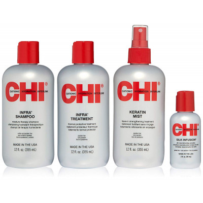 Набор для Увлажнения и Питания Волос CHI (Infra Shampoo 350 мл + Infra Treatment 350 мл + Keratin Mist 355 мл + Silk Infusion 59 мл)