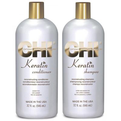 Восстанавливающие Шампунь и Кондиционер CHI Keratin Shampoo 950 мл + Conditioner 950 мл