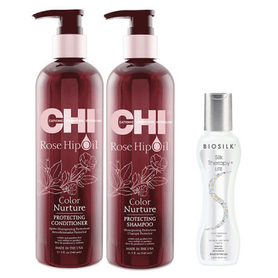Шампунь и Кондиционер Защита Цвета CHI Rose Hip Protecting Shampoo 350 мл + Conditioner 350 мл + Шёлк BioSilk Therapy 67 мл в подарок!