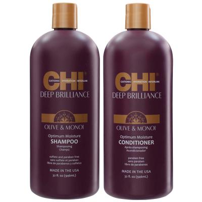 Набор для Всех Типов Волос CHI Deep Brilliance Olive & Monoi Optimum Moisture (Шампунь 907 мл + Кондиционер 907 мл)