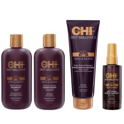 Набор для Всех Типов Волос CHI Deep Brilliance (Шампунь 350 мл + Кондиционер 350 мл + Маска 230 мл + Шёлк для Блеска 150 г)