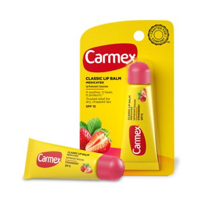 Бальзам для Губ Carmex Lip Balm Tube Strawberry SPF 15 с Ароматом Клубники в Тубе 10 г