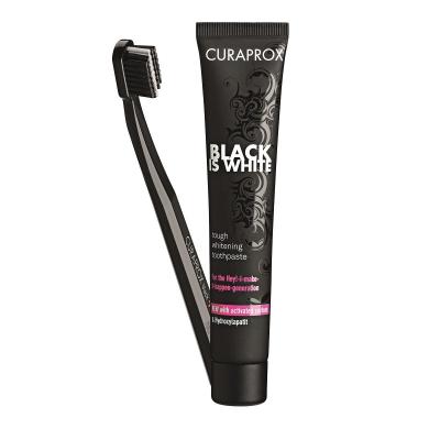 Набор Отбеливающая Зубная Паста с Активированным Углём Black Is White 90 мл + Зубная Щётка UltraSoft CS5460 Curaprox