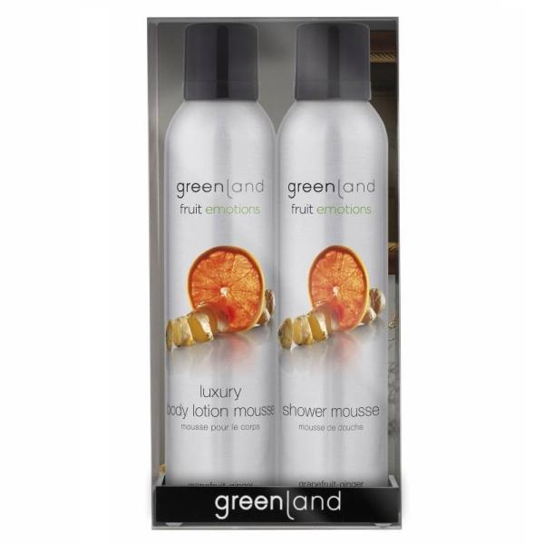 Набор Фрут Емоушенс Сенсейшн (Мусс для Душа 200 мл и Мусс для Тела 200 мл) Грейпфрут-Имбирь Greenland Gift Pack Shower & Body Mousse Sensation Grapefruit-Ginger