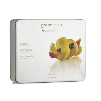 Набор Скин Кот Новый Крем для Тела 120 мл, Крем для Рук 75 мл, Бальзам для Губ 3.9 г Папайя-Лимон Greenland Skin Kit Set Papaya-Lemon