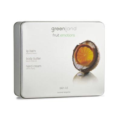 Набор Скин Кот Новый Крем для Тела 120 мл, Крем для Рук 75 мл, Бальзам для Губ 3.9 г Кокос-Мандарин Greenland Skin Kit Set Coconut-Tangerine