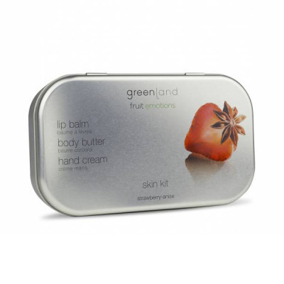 Набор «Клубника-Анис» Greenland Skin Kit set strawberry-anise (Масло для Тела 100 мл + Крем для Рук 50 мл + Бальзам для Губ 3,9 г)