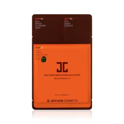 Трёхшаговый Экспресс-Набор для Восстановления Кожи (Тканевая Маска, Пенка для Умывания, Эссенция) JayJun Real Water Brightening Black Mask