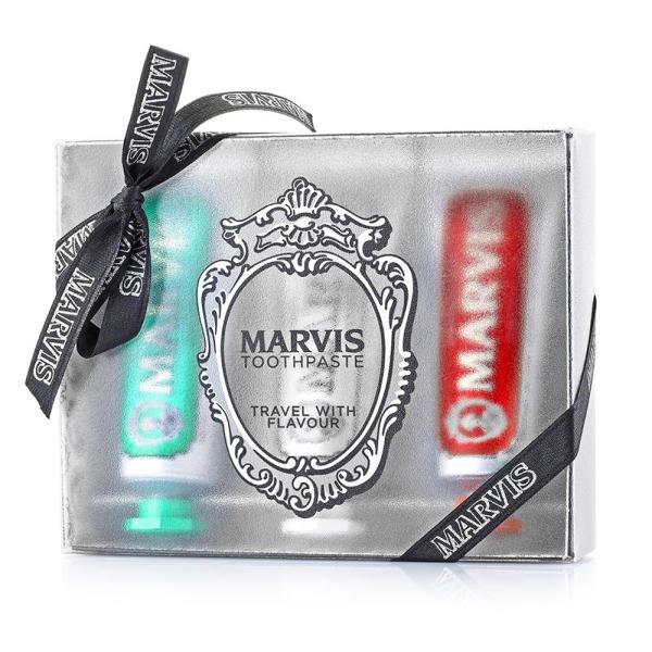 Подарочный Набор с Зубными Пастами Трёх Вкусов - Классическая, Отбеливающая, Корица Marvis 3 Flavours Box - Classic, Whitening, Cinnamon 25 мл х 3 шт
