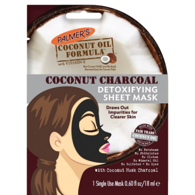 "Тканевая Маска с Углём для Детоксикации ""Масло Кокоса"" Palmers Coconut Charcoal Detoxifying Sheet Mask 20 мл"