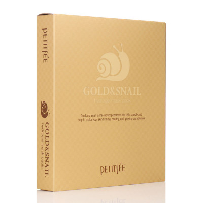 Гидрогелевая Маска для Лица с Золотом и Муцином Улитки PETITFEE Gold & Snail Hydrogel Mask Pack - 30 г x 5 шт