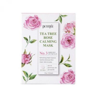 Успокаивающая Маска для Лица с Экстрактом Чайного Дерева и Розы PETITFEE Tea Tree Rose Calming Mask 25 г