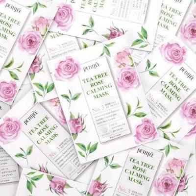 Успокаивающая Маска для Лица с Экстрактом Чайного Дерева и Розы PETITFEE Tea Tree Rose Calming Mask 10x25 г