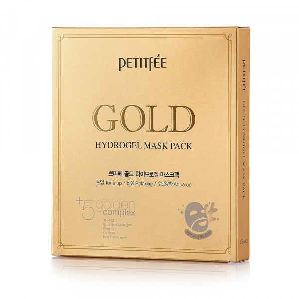 Гидрогелевая Маска для Лица с Золотым Комплексом +5 PETITFEE Gold Hydrogel Mask Pack 30 г x 5 шт