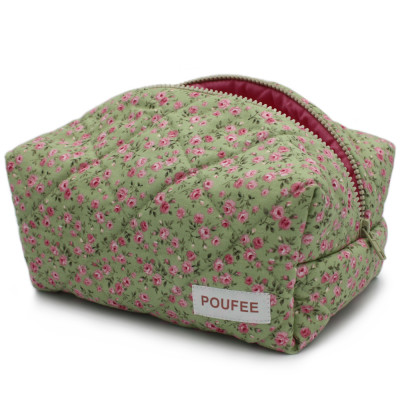 Косметичка Розовые Цветочки на Зелёном Большая POUFEE Pink Flowers on Green BIG