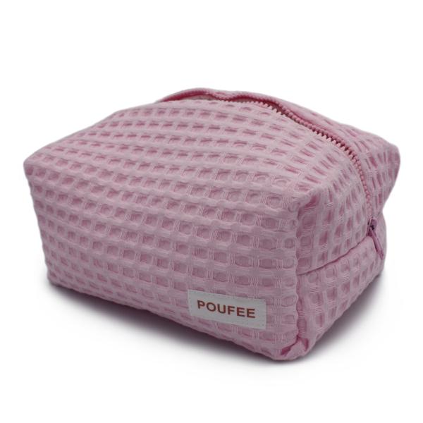 Косметичка Розовая Вафельная Большая POUFEE Pink Waffle BIG