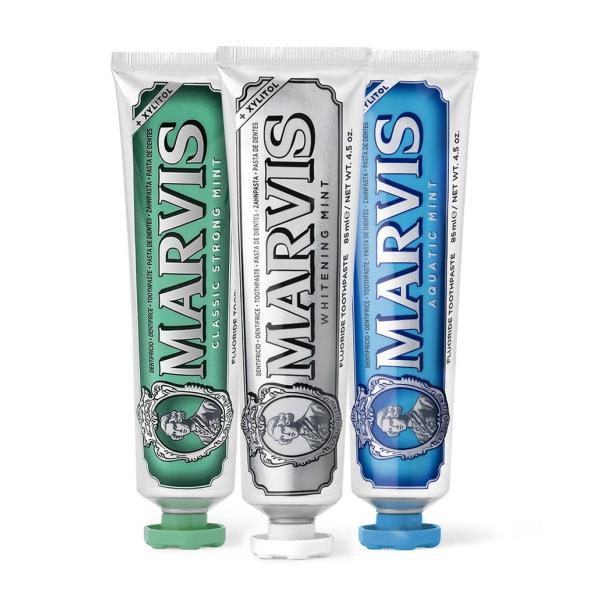 Акционный Комплект из 3-х Зубных Паст Marvis «Интенсивная Мята» 85 мл + Отбеливающая «Мята» 85 мл + «Морская Мята» 85 мл