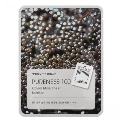 Тканевая Маска Tony Moly с Экстрактом Чёрной Икры Pureness 100 Caviar Mask Sheet 21 мл