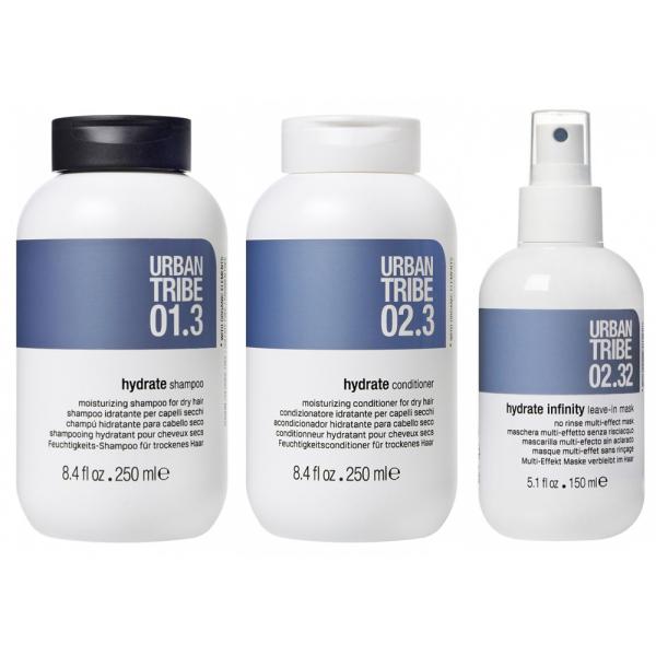 Набор для Увлажнения Волос (Несмываемая Маска 02.32, Увлажняющий Кондиционер 02.3, Увлажняющий Шампунь 01.3) Urban Tribe Hair Set 150+250+250 мл