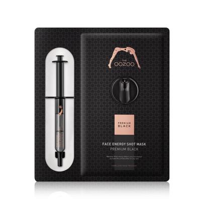 Маска с Черным Женьшенем и Кератиназой S для Интенсивного Антивозрастного Ухода THE OOZOO Face Energy Shot Mask Premium Black (1 шт.)